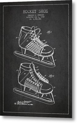 Vintage Hockey Shoe Patent Drawing From 1935 Metal Print by Aged Pixel