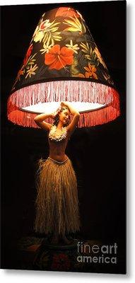Vintage Hula Girl Lamp Metal Print