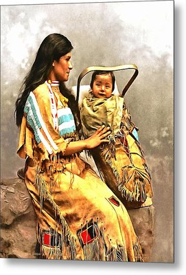 Ojibwast Equa And Papoose Metal Print by Vintage Image Collection