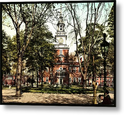 Vintage Independence Hall 1900 Colorized Metal Print by Bill Cannon