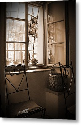 Vintage Interior With A Wooden Framed Window Metal Print