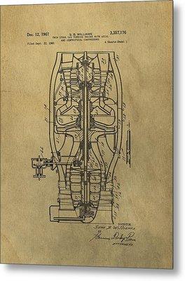 Vintage Jet Engine Patent Metal Print