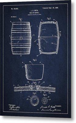 Vintage Keg Or Barrel Patent Drawing From 1898 - Navy Blue Metal Print