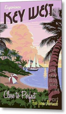 Vintage Key West Travel Poster Metal Print by Jon Neidert
