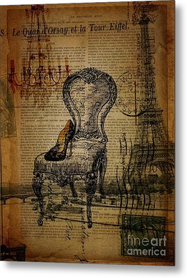 Vintage Lace Stiletto Rococo Chair Chandelier Paris Eiffel Tower Metal Print by Cranberry Sky