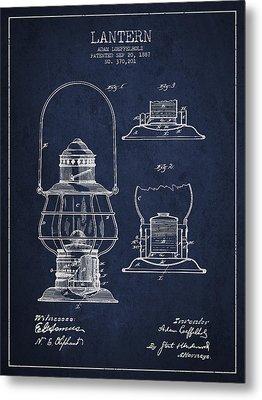 Vintage Lantern Patent Drawing From 1887 Metal Print