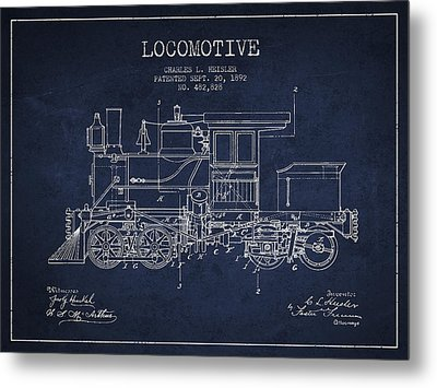 Vintage Locomotive Patent From 1892 Metal Print by Aged Pixel