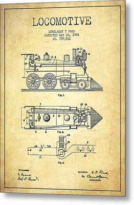 Vintage Locomotive Patent From 1904 - Vintage Metal Print by Aged Pixel