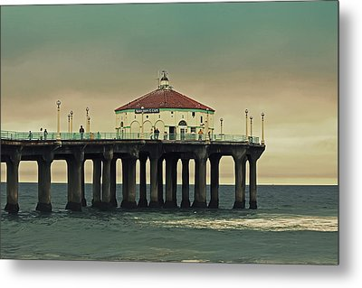 Vintage Manhattan Beach Pier Metal Print