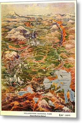 Vintage Map Of Yellowstone National Park Metal Print