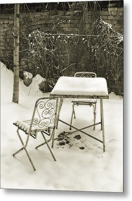 Vintage Metal Chairs Covered With Snow Metal Print