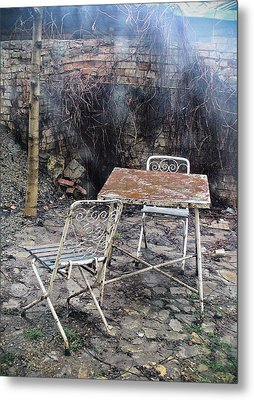 Vintage Metal Chairs In The Backyard Metal Print
