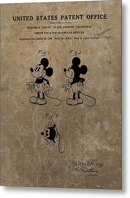 Vintage Mickey Mouse Patent Metal Print by Dan Sproul