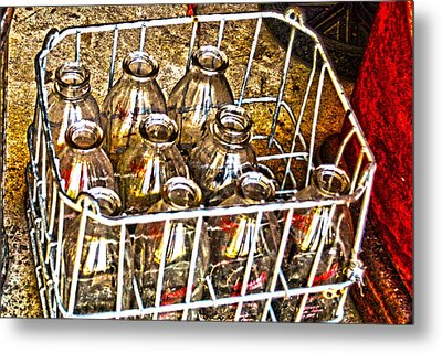 Metal Print featuring the photograph Vintage Milk Bottles In A Crate   by Lesa Fine