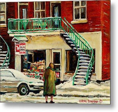 Vintage Montreal Art Verdun Depanneur Winter Scene Paintings Staircases And 7up Signs Carole Spandau Metal Print by Carole Spandau