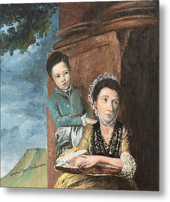 Metal Print featuring the painting Vintage Mother And Son by Mary Ellen Anderson