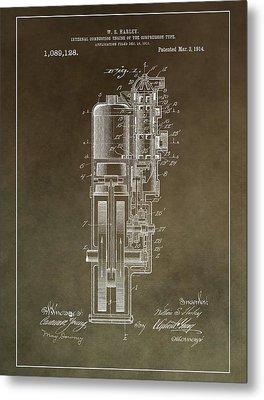 Vintage Motorcycle Engine Patent Metal Print