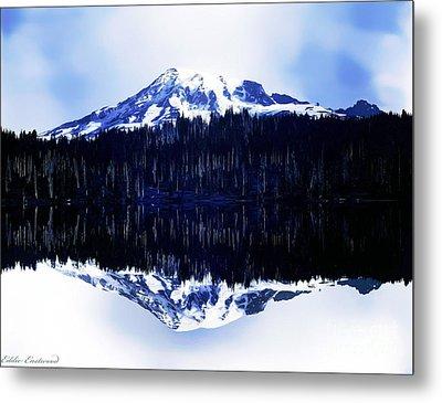 Vintage Mount Rainier From Reflection Lake Early 1900 Era... Metal Print by Eddie Eastwood