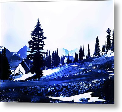 Vintage Mount Rainier Lodge Early 1900 Era... Metal Print by Eddie Eastwood
