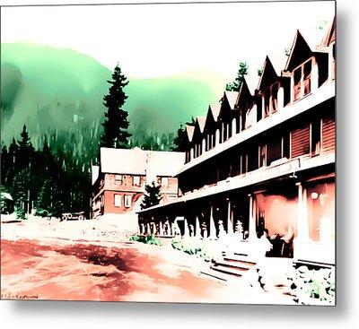 Vintage Mount Rainier National Park Inn Early 1900 Era... Metal Print by Eddie Eastwood