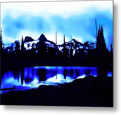 Vintage Mount Rainier With Longmire Springs In The Foreground Early 1900 Era... Metal Print
