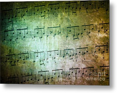 Vintage Music Sheet Metal Print by Carlos Caetano