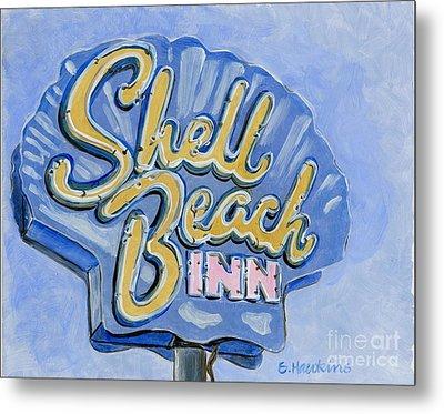 Vintage Neon- Shell Beach Inn Metal Print by Sheryl Heatherly Hawkins