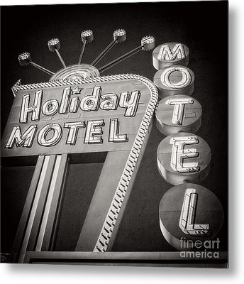 Vintage Neon Sign Holiday Motel Las Vegas Nevada Metal Print by Edward Fielding