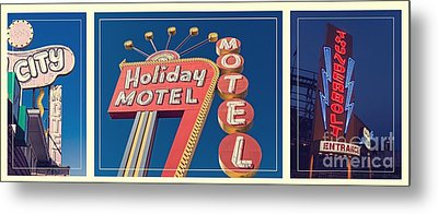 Vintage Neon Signs Trio Metal Print by Edward Fielding