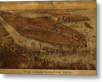 Vintage New York City Manhattan Nyc In 1875 City Map On Worn Canvas Metal Print