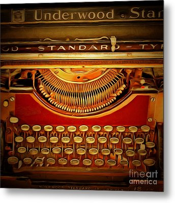 Vintage Nostalgic Typewriter 20150228v2 Square Metal Print by Wingsdomain Art and Photography