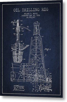Vintage Oil Drilling Rig Patent From 1911 Metal Print by Aged Pixel