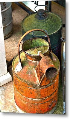 Metal Print featuring the photograph Vintage Orange And Green Galvanized Containers by Lesa Fine