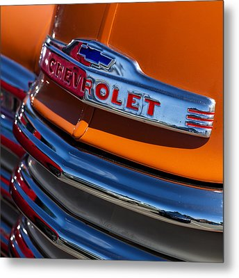 Vintage Orange Chevrolet Metal Print