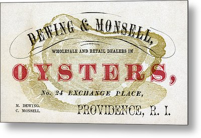 Vintage Oyster Dealers Trade Card Metal Print by Historic Image