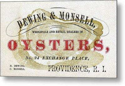 Vintage Oyster Dealers Trade Card Metal Print