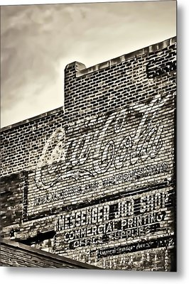 Vintage Painted Signage On Building Metal Print by Greg Jackson