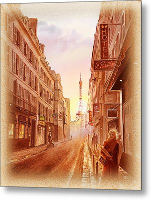Vintage Paris Street Eiffel Tower View Metal Print by Irina Sztukowski