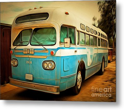 Vintage Passenger Bus 5d28394brun Metal Print by Wingsdomain Art and Photography