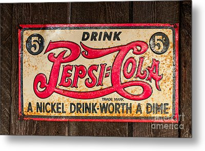 Vintage Pepsi Cola Ad Metal Print by Les Palenik