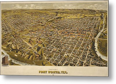 Vintage Perspective Map Forth Worth Texas Metal Print by Dan Sproul