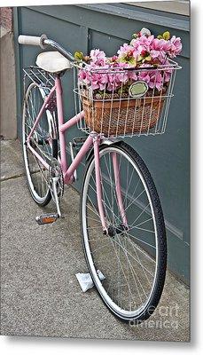 Vintage Pink Bicycle With Pink Flowers Art Prints Metal Print by Valerie Garner