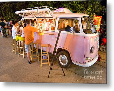 Vintage Pink Volkswagen Bus Metal Print by Luciano Mortula