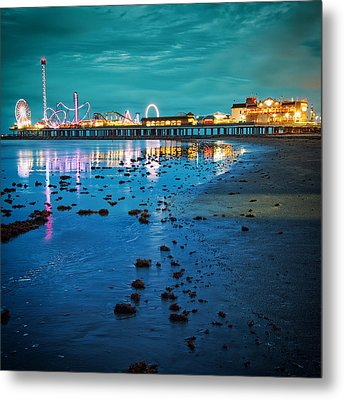 Vintage Pleasure Pier - Gulf Coast Galveston Texas Metal Print