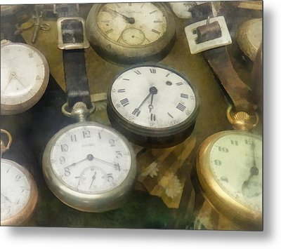 Vintage Pocket Watches Metal Print by Susan Savad
