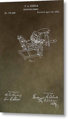 Vintage Printing Press Patent Metal Print by Dan Sproul