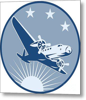 Vintage Propeller Airplane Retro Metal Print by Aloysius Patrimonio