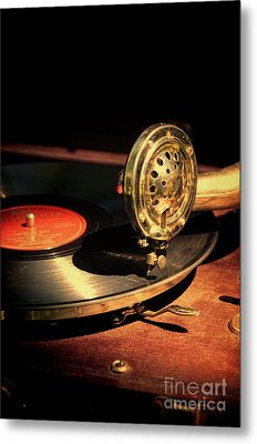 Vintage Record Player Metal Print