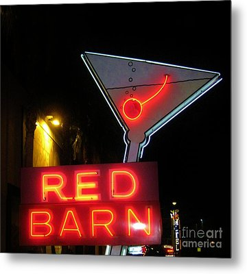 Vintage Red Barn Neon Sign Las Vegas Metal Print by John Malone