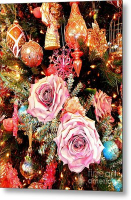 Vintage Rose Holiday Decorations Metal Print by Janine Riley